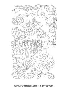 Coloring page with vintage flowers. Black and white. Handrawn ornament.