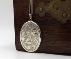 Large Sterling Silver Locket Necklace   Vintage Photo Locket Necklace On A Chain by DaisysCabinet on Etsy