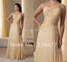 Online Shop Stylish One-Shoulder Champagne Mother Of The Bride Dresses Long FM125|Aliexpress Mobile
