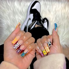 Colorful nail designs are very trendy this season. We have marvelous archives of all possible nail colors you could imagine in your wildest ...#naildesigns #uniquenails #naildesigns #creativenails #nailideas #nailart #coffinshapenails #frenchtipnails #longnails #colourfulnails Edgy Nails, Funky Nails, Swag Nails, Cute Nails, Pretty Nails, Almond Acrylic Nails, Best Acrylic Nails, Acrylic Nail Designs, Colored Nail Tips