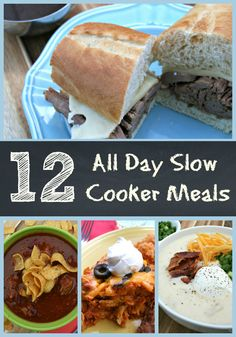 12 All-Day Slow Cooker Meals- 8 hours or more slow cooker recipes! http://themagicalslowcooker.com/2013/05/12/12-all-day-slow-cooker-meals/