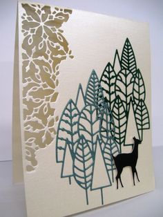 Memory Box Distressed Snowdrift Collage Poppystamps Boddington Tree Cluster, Forest Deer