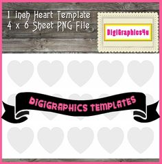 Printable 1 inch (25.40 mm)  Heart Shaped Jewelry Template Instant Download PNG Format Digital Collage Sheet Template