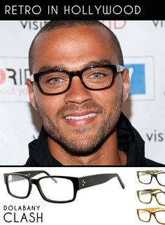 "Jesse Williams from doctor drama TV show, ""Private Practice"" wears chunky black retro frames at a press event. Get the look with 'Clash' by Dolabany Eyewear."