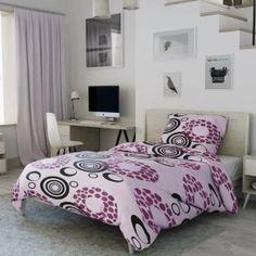 Krepové povlečení fialové černé kruhy kolečka puntíky tečky Comforters, Blanket, Bed, Furniture, Home Decor, Creature Comforts, Quilts, Decoration Home, Stream Bed