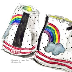 Mini Boden. Boden illustration. Illustrated shoes. Sneaker illustration. Kids shoes. Kid sneakers. Illustration of kids rainbow sneakers.