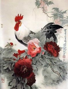 Rooster with Peony Rooster Painting, Rooster Art, Chicken Painting, Chicken Art, Japanese Painting, Japanese Art, Hahn Tattoo, Rooster Tattoo, Sparrow Art