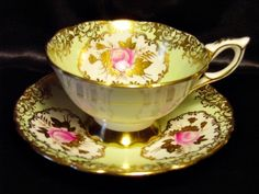 Royal Stafford Cabinet Tea Cup & Saucer ~ Pink Rose Cartouche on Mint Green Tea Cup Set, My Cup Of Tea, Tea Cup Saucer, Yellow Cups, Antique Tea Cups, China Tea Sets, Teapots And Cups, Tea Service, Vintage Tea