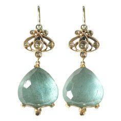 Dalben Aquamarine Diamond Gold earrings | From a unique collection of vintage dangle earrings at https://www.1stdibs.com/jewelry/earrings/dangle-earrings/