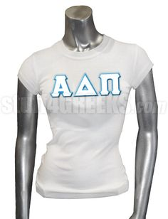 White Alpha Delta Pi t-shirt with the Greek letters across the chest.