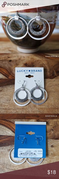 "Lucky Brand Silver Tone Pave Hoop Earrings Lucky Brand pave hoop earrings in silver tone. New with Tags... great gift. 1.25"" drop. Lucky Brand Jewelry Earrings"