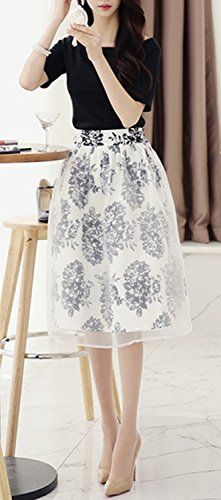 Pink Rose (Pink Rose) adult elegant ◎ off shoulder T tulle overlaid flared skirt set of 2 A-line Ladies Fashion / White Black / size ML (1. White, M size)