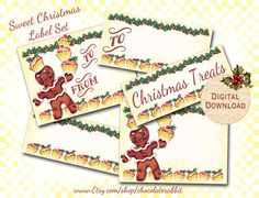 Retro Christmas Gingerbread Man Tags Digital by chocolaterabbit, $3.25