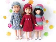 """Knitting pattern for Dress and Hat for Paola Reina doll (12""""/32 cm) and Corolle Les Cheries doll (13""""/33cm)."""