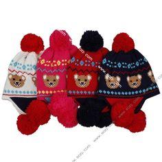 Baby Kids Winter Head Beanie Balls Crochet Earflap Caps