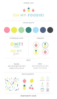 Colorful brand design for a food blogger.
