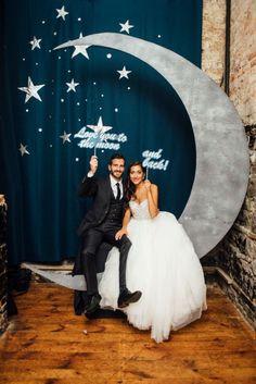Wedding Chicks An adorable DIY moon photobooth idea See more here: boakviewphotograp… Galaxy Wedding, Moon Wedding, Celestial Wedding, Diy Wedding, Wedding Photos, Dream Wedding, Wedding Ideas, Wedding Parties, Star Wedding Themes