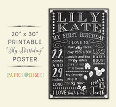 "PERSONALIZED & CUSTOM 20x30 ""My Birthday"" Digital Chalkboard Poster, Sign, First, Favorite Things, Baby, Child  WANT this for Isaiah's 1 year pics :-)"