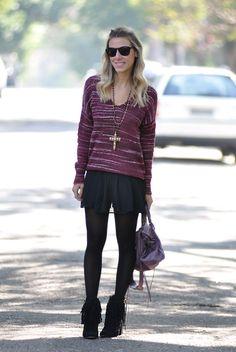 glam4you - nati vozza - boho - estilo - tricot - frio - look winter - inverno - botinha - franja - short saia - balenciaga - roxo - preto #EasyNip
