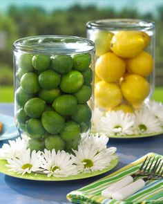 Lemon and Lime- place lemons and limes in vases as a fresh centerpiece decoration.