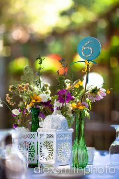 wedding, wild flowers, table numbers