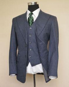 Bespoke-Blue-Flannel-Single-Breasted-Peak-Lapel-3pc-Suit-Jacket-Pants-Vest-38