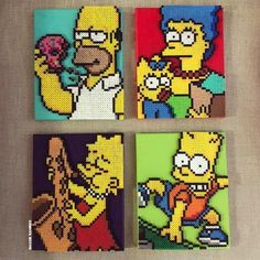 The Simpsons Perler Bea Hama Beads Coasters, Diy Perler Beads, Perler Bead Art, Pearler Beads, Hama Coaster, Hama Beads Design, Hama Beads Patterns, Beading Patterns, Pixel Beads