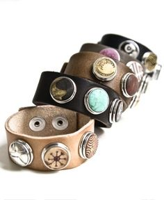 NOOSA Amsterdam bracelets are so much fun. You can change the 'chunks' to match your outfit. I have the dark brown bracelet with 8 chunks now! Cuff Bracelets, Bangles, Leather Bracelets, Leather Jewelry, Cuff Jewelry, Leather Cord, Fashion Accessories, Fashion Jewelry, Pandora