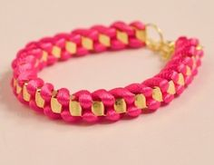 $3.99 Candy Color Metal Chain Rope Twist Bracelet