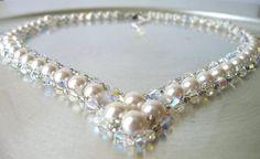 Wedding Jewelry Swarovski Pearl and Diamond by MelJoyCreations, $59.00