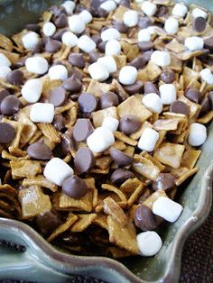 S'mores Bars: Like Rice Krispie treats, but with Golden Grahams, miniature Hersey's Kisses, and marshmallows.  No fire needed for a delicious summer treat!