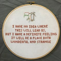 "Twin Peaks Cross Stitch Television Quote- ""Wonderful and strange"""