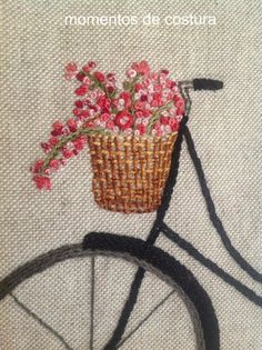 French knots flowers and a thread woven basket. French Knot Embroidery, Silk Ribbon Embroidery, Crewel Embroidery, Cross Stitch Embroidery, Embroidery Patterns, Sewing Crafts, Needlework, Creations, Crochet