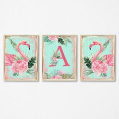 Typography Flamingo Letter Print Tropical Monogram Wall Art Home Decor Gift