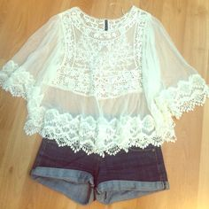 Sheer/Lacey shirt Lacey shirt, never worn! Brand new with no tags! Really cute for the summer! Forever 21 Tops Blouses