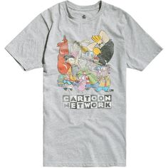 Cartoon Network Group T-Shirt Hot Topic ($21) ❤ liked on Polyvore featuring tops, t-shirts, gray top, gray t shirt, cartoon t shirts, dog t shirts and cartoon character t shirts