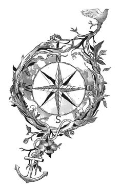 Compass Tattoo- would love to add more natural elements to this. Def getting something similar.