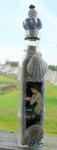 Altered Art Mermaid Bottle