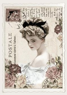 Vintage Fisher Postcard 5 on Craftsuprint designed by Pauline Black - The ever popular Harrison Fisher Ladies! This is a set of nine beautifully designed vintage postcards as A4 toppers. - Now available for download!