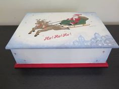 Your place to buy and sell all things handmade Christmas Eve Box, Christmas Stuff, Wish Box, Beauty Box, Wooden Boxes, Green And Gold, Toy Chest, Original Artwork, Diy And Crafts