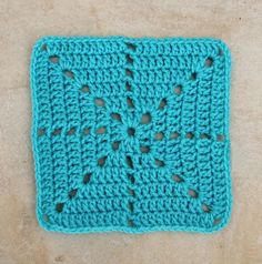 Here's a super simple yet quite lovely fillet crochet/granny square star burst, with just enough detail to make it interesting, yet simple enough for crocheters of any level to pull off. And, since there are no color changes that means...