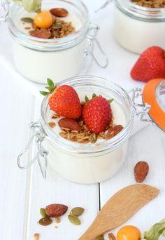 Greek Yogurt Panna Cotta with Crunchy Maple Topping & Fresh Berries ...