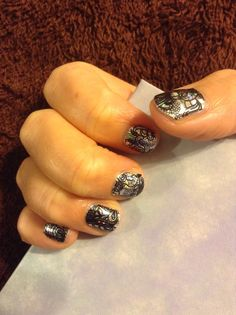 Black Lace over Holographic...Juanita Huyett Independent Jamberry Consultant... http://juan2jam.jamberrynails.net...Holographic is retired.