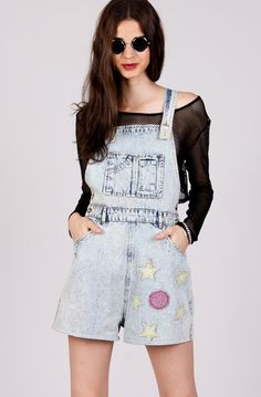 Beyond awesome #vintage acid wash #dungarees with adjustable button straps and star patches. #YAYER #90s #Fashion