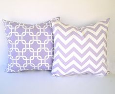 """Lavender throw pillow covers set of two 20"""" x 20"""" wisteria purple and white Chevron zig zag and Gotcha modern home decor"""