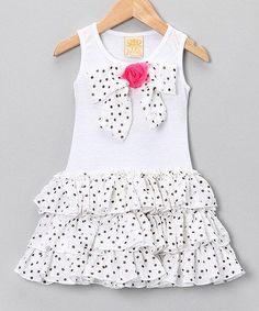 Loving this Mia Belle Baby White Polka Dot Bow Ruffle Dress - Toddler & Girls on Little Girl Outfits, Little Girl Fashion, Little Girl Dresses, Kids Outfits, Kids Fashion, Toddler Girl Dresses, Toddler Girls, Baby Frocks Designs, Baby Dress