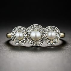 Antique French Pearl and Diamond Ring C. 1900