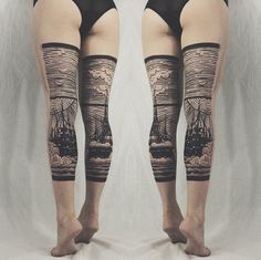 Stunning diptych tattoos by Thieves of Tower form landscapes across the backs of legs. #tattoo