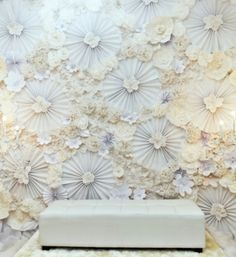 White paper flowers wedding dais...