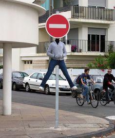 Funny street art by Mark Jenkins